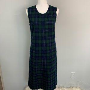 Vintage Pendleton blue and green plaid dress
